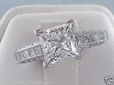 2.48CT PRINCESS CUT COMFORT FIT DIAMOND SOLITAIRE ENGAGEMENT RING 14C WHITE GOLD