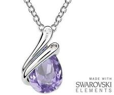 Made with Swarovski Elements Violet Teardrop Pendant and Necklace - £35
