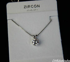 Genuine White Gold Plated 8MM CZ Cubic Zirconia Classic Delicate Necklace UK New