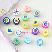 100Pcs Mixed Handmade Polymer Fimo Clay Flower Flat Spacer Beads Charms 6mm