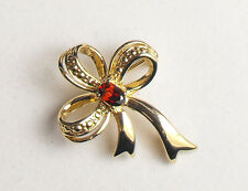 Gold Plated Sterling Silver Garnet / Red Stone Set Fashion Bow Brooch by Creola