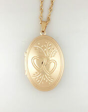 *UK* GOLD PLATED ENGRAVED HEARTS OVAL PHOTO / PICTURE LOCKET PENDANT NECKLACE