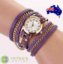 CHARMING LADIES VINTAGE WEAVE WRAP CRYSTAL BRACELET WATCH LEATHER & CHAIN
