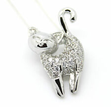925 Sterling silver CZ cat pendant and necklace