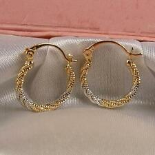 """SALE 9ct 9K White / Yellow """" Gold Filled """"  20mm Hoop Earrings Valentine E630"""