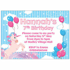 Personalised Birthday Party Invitations or Thank You Cards Unicorn Balloons