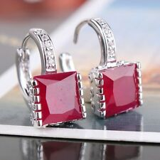 Wedding present! 18k white gold filled princess leverback ruby earring