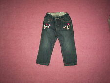 "Girls ""H&M"" Dark Blue Bear Motif/Floral Jeans for Age 12-18 months"