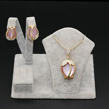 Pink Opal Lotus Style Pendant Necklace +Earrings Jewelry Set Woman Fashion Gifts