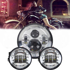2x 4.5'' Passing Light + 7'' LED Chrome Projector Daymaker Headlight For Harley