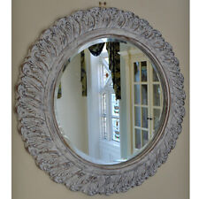 Vintage French Style Round Bevelled Carved Wall Mounted Mirror White Wash Frame