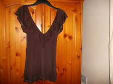 Dark brown deep v neck cap sleeve top, silver detail, JANE NORMAN, 10, NEW