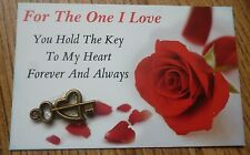 FOR ONE I LOVE*YOU HOLD THE KEY TO MY HEART*BRONZE CHARM*IDEAL ROMANTIC GIFT