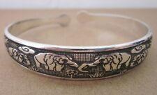 Tibetan Silber Damen Armband Armreifen Thai Elephant regulierbar Schmuck TA07