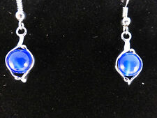 18k White Gold Plated Brilliant Blue Opal Earrings