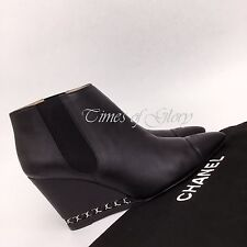 Auth Chanel CC Logo Leather Chain Black Goatskin Dhort Boots Size 39 6 US9