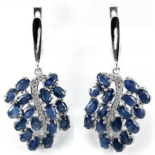 Sterling Silver 925 Large Genuine Natural Deep Blue Sapphire Cluster Earrings