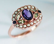 1185 Genuine 9K Solid Rose Gold NATURAL Amethyst & Peridot Ring made in yr size