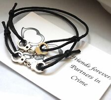 2 x Unisex Friendship Bracelets - FRIENDS Forever 'PARTNERS in Crime' -Handcuffs