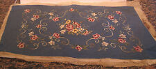 Vintage Completed Needlepoint Canvas For Foot Stool 15 X 26 Inches