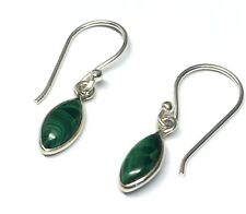 Handmade in 925 Sterling Silver, Real Malachite Marquise Drop Earrings & Box