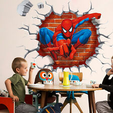 Kid Boys Bedroom Decor 3D Spiderman Wall Sticker Removable Mural Paper Decals