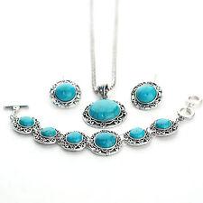 Fashion Women's Vintage Green Turquoise Necklace Earrings Bracelet Jewelry Set