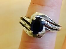 Diamond and Blue Sapphire Ring - sterling silver