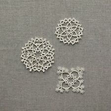 Tatting Lace 3 Patterns - Japan Clover Diagram Instructions 2 shuttles use