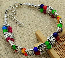 Hot Fashion Tibetan Silver Jewelry Beads Bangle Turquoise Chain Bracelets New