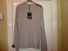 TEDDY SMITH Mens Crew Neck Long Sleeve Cotton Top / T-shirt Taupe ( Beige ) XL
