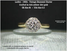 Diamond Cluster 18ct Yellow Gold Ladies 0.25 ct diamonds 1960s Vintage ring UK M
