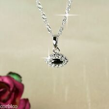 N11 18K White Gold Plated Black Crystal Evil Eye Lucky Necklace  -  Gift boxed