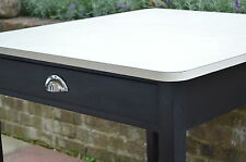 VINTAGE RETRO WHITE FORMICA KITCHEN DINING TABLE WITH 2 DRAWERS - CHROME HANDLES