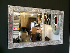 Crackle Design Wall Mirror Bevelled Edge Silver Frame Mosaic Glass 90x60cm New
