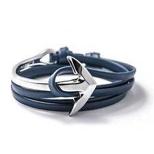 Silver Anchor Blue Nappa Leather Wrap Bracelet