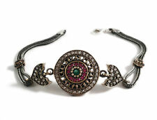 Vintage Womens 925 Sterling Silver Ruby Emerald Bracelet jewelry Bangle Charm