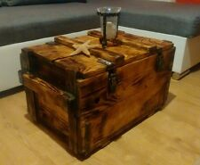 Rustic Wood Pine Chest Trunk Blanket Box Vintage Coffee Table Unique