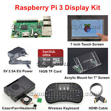"Raspberry Pi 3 16GB Starter Display Kit with 7"" 1024*600 Touch Screen"