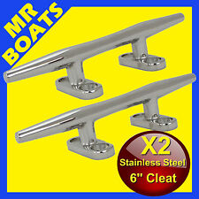 "2X 6"" 150mm ✱ BOAT CLEAT ✱Stainless Steel Slimline HEAVY DUTY Rope Tie BRAND NEW"