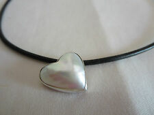 HANDMADE HEART MABE PEARL BLACK LEATHER CHOKER STERLING SILVER 925