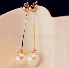 Checkout Cool Lady Stylish Charming Long Chic Gold Plated Pearl Earrings gt
