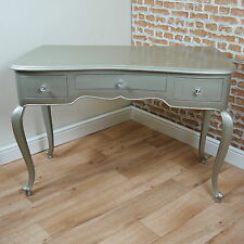 Contemporary Metallic Silver 3 Drawer Dressing Table Carved Solid Wood Elegant