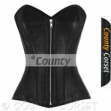 Full Steel Boned Victorian Overbust Bustier Gothic Black Real Leather Zip Corset