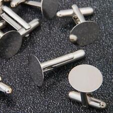 "10 Silver Tone Cufflinks Cuff Link Backs Blanks 0.71x0.55"" Mens Jewelry Gift Lot"
