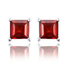 Princess Cut Square Genuine Garnet Earrings Stud 925 Sterling Silver For Women