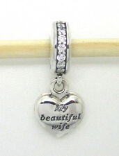 Authentic Pandora #791524CZ My Beautiful Wife Locket Heart Dangle Silver Charm
