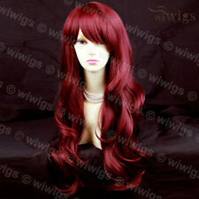 Lovely Layered wavy Burgundy mix Red Long Ladies Wigs from WIWIGS UK