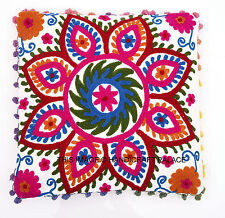 SUZANI EMBROIDERED PILLOW CUSHION COVER Colorful Decorative Ethnic Throw 16""