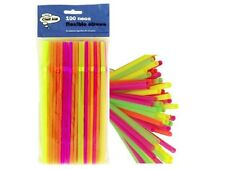 100 Quality Neon Flexible Bendy Birthday Party Drinking Straws Assorted Coloured